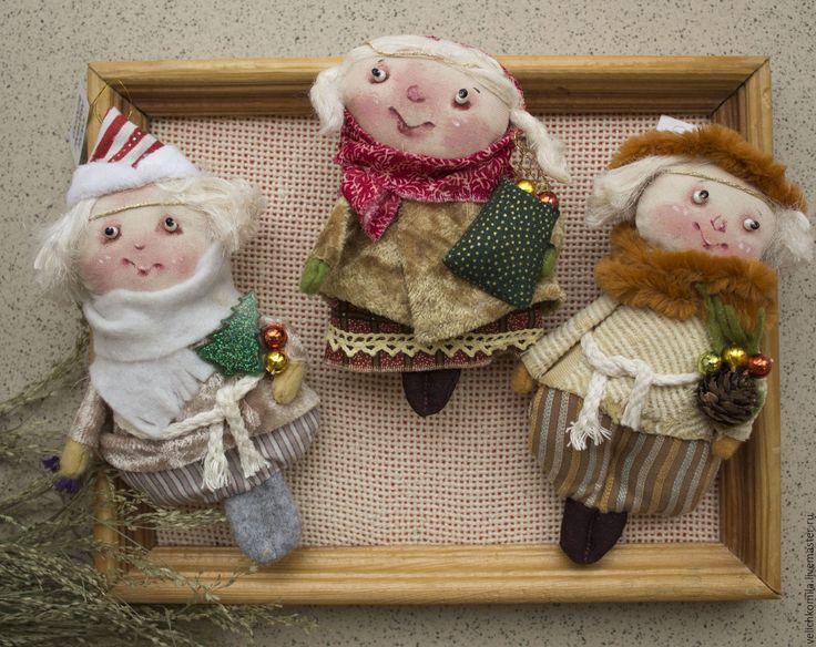 Купить Текстильная куколка - ангел, ангел-хранитель, ангел текстильный, мини кукла, бежевый, хлопок
