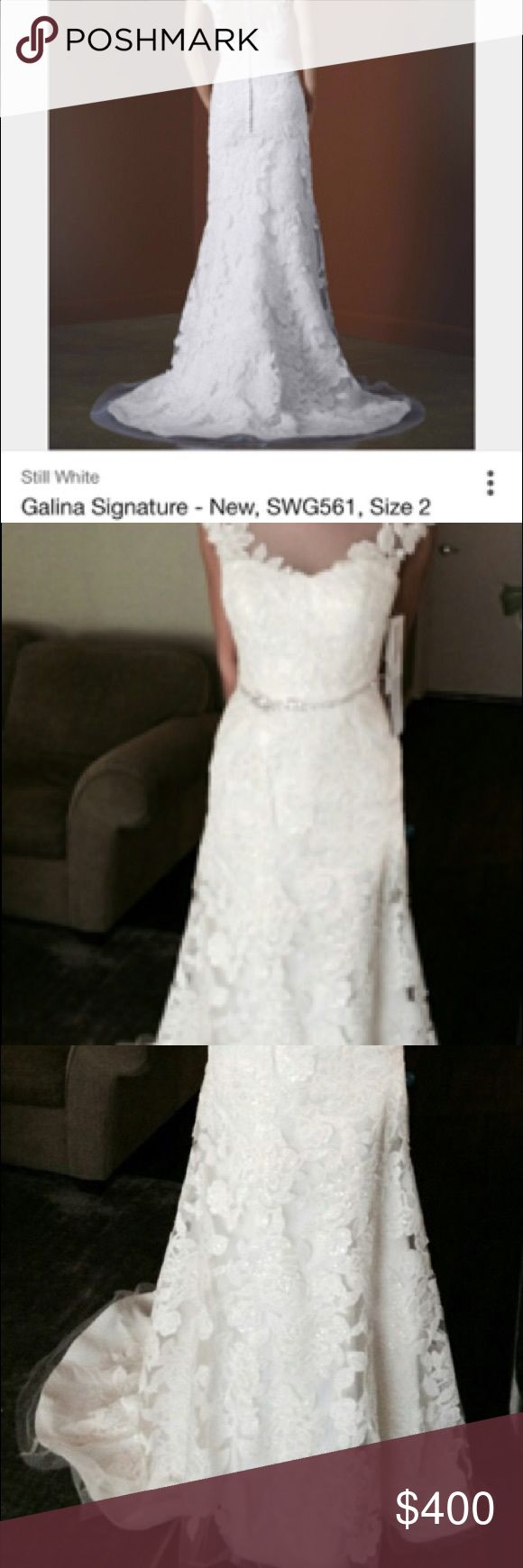 Galina Signature Wedding Gown SWG561 Size 6 wedding gown, Ivory Lace mermaid fit gown. Very elegant and classy. Galina Signature Dresses Wedding