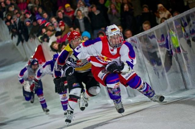 Red Bull Crashed Ice- A new sport presented by Red Bull. It's a dangerous downhill race on skates.