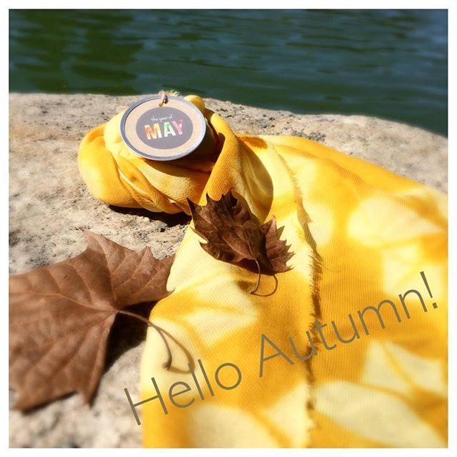 hello Autumn  #theyearofmay #shibori #fallfashion #fashionaccessories #scarves #handdyed #handmade #yellowscarf #etsyshop #etsydallas #etsy #hellofall