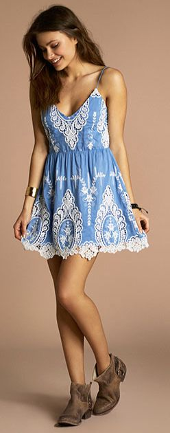 Blue lace summer dress find more women fashion ideas on www.misspool.com