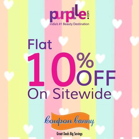 Flat 10% off on ‪#‎Sitewide‬ at Purplle.com! Visit : http://www.couponcanny.in/purplle-coupons/