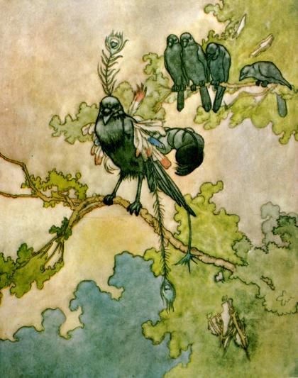 The jackdaw and the birds - Aesop's Fables