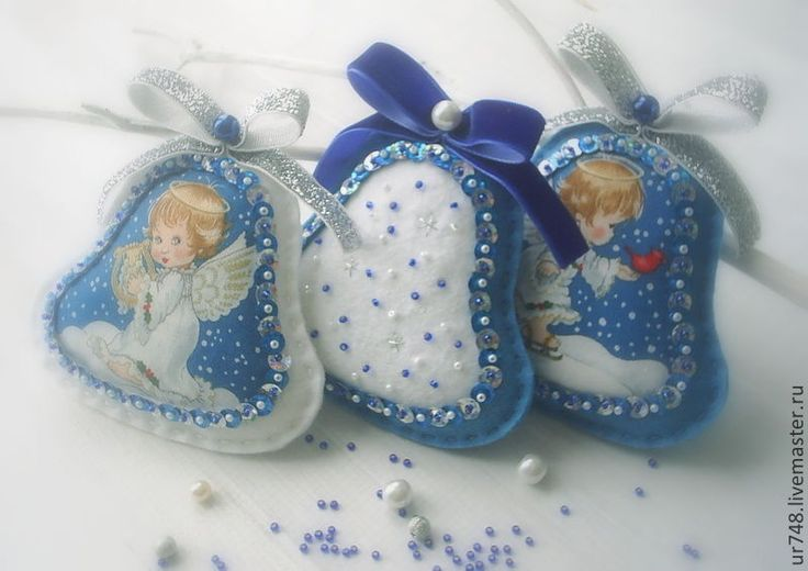 """Купить Елочные игрушки-колокольчики """"Маленький ангел"""" комплект - синий, подарки на новый год, новогодние украшения"""