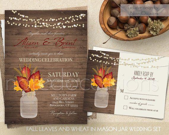Fall Leaves Wedding Invitation Set Printable Rustic Fall