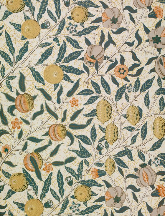 Wallpaper - Fruit (Pomegranate) design by William Morris, 1862.