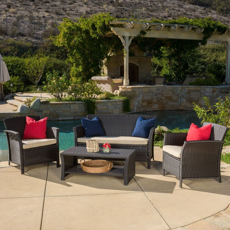 Outdoor Santa Lucia 4-piece Brown Wicker Conversation Set with Cushions by Christopher Knight Home (Santa Lucia Brown Sofa Set), Size 4-Piece Sets, Patio Furniture (Fabric)