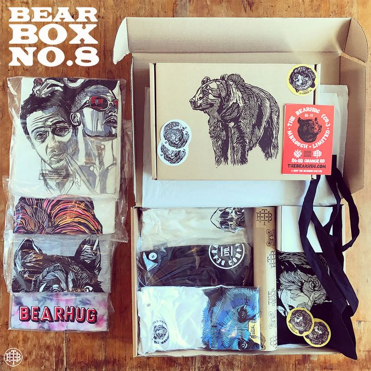 The 'Bear Box No.8' Includes 3 x T-Shirts, Tote, Mug & Print - THEBEARHUG.com/search/box - Worth over £125 (Save 50%) + Free P&P