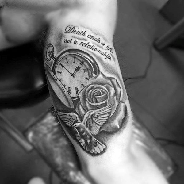 Pocket Watch Life Death Quote Tattoo With Rose Flower And Dove On Mans Bicep Inner Arm