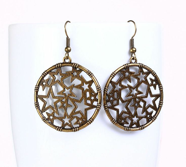 Khalliah Design - Stars drop dangle earrings - antique brass, $18.00 (http://www.khalliahdesign.com/stars-drop-dangle-earrings-antique-brass/)