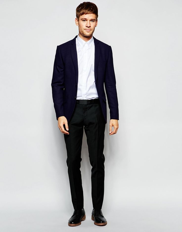 Image 4 of Number Eight Savile Row Exclusive Wool Mix Blazer with Stretch in Skinny Fit