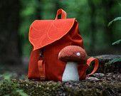 Orange Leaf Mini Backpack, Women's Rucksack, Boho Festival Backpack, Waterproof Hipster Backpack , Toddler Backpack, Small Rucksack