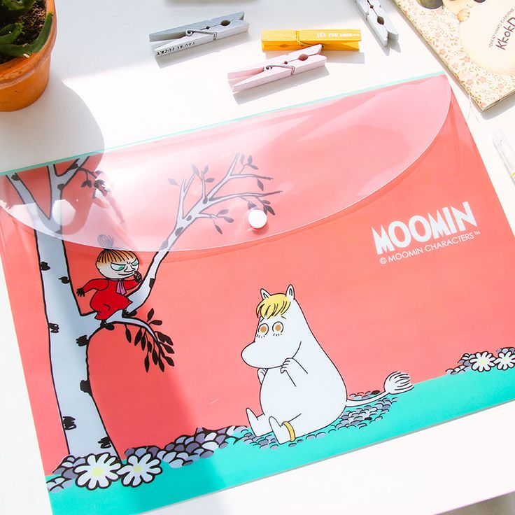 """""""Moomin"""" Cute Pack of 4 Document File Folder One Layer A4 Size Plastic Bag #UnbrandedGeneric"""