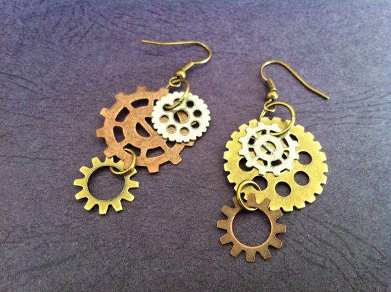 Steampunk Clock Gears Brass Loop Dangle Earrings with Copper and Gunmetal Finish. Ear Rings. $5.99, via Etsy.