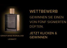 Gewinne mit dem Import Parfumerie Wettbewerb 5 x 1 Cristiano Ronaldo Legacy Parfum. https://www.alle-gewinnspiele.ch/parfum-cristiano-ronaldo-legacy-gewinnen/