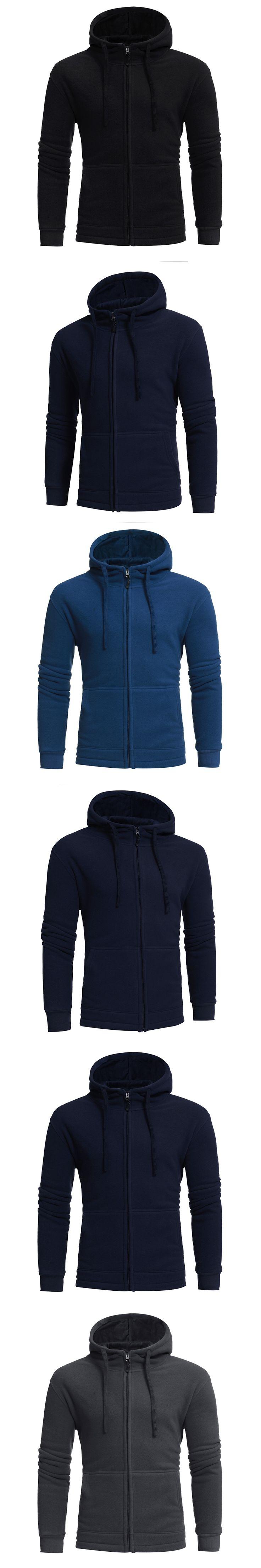 2017 New Mens Hoodies Sweatshirts Winter Plus Velvet Coats Men Hoodies Warm Thicken Slim Fit Sporting Tracksuits Zipper placket