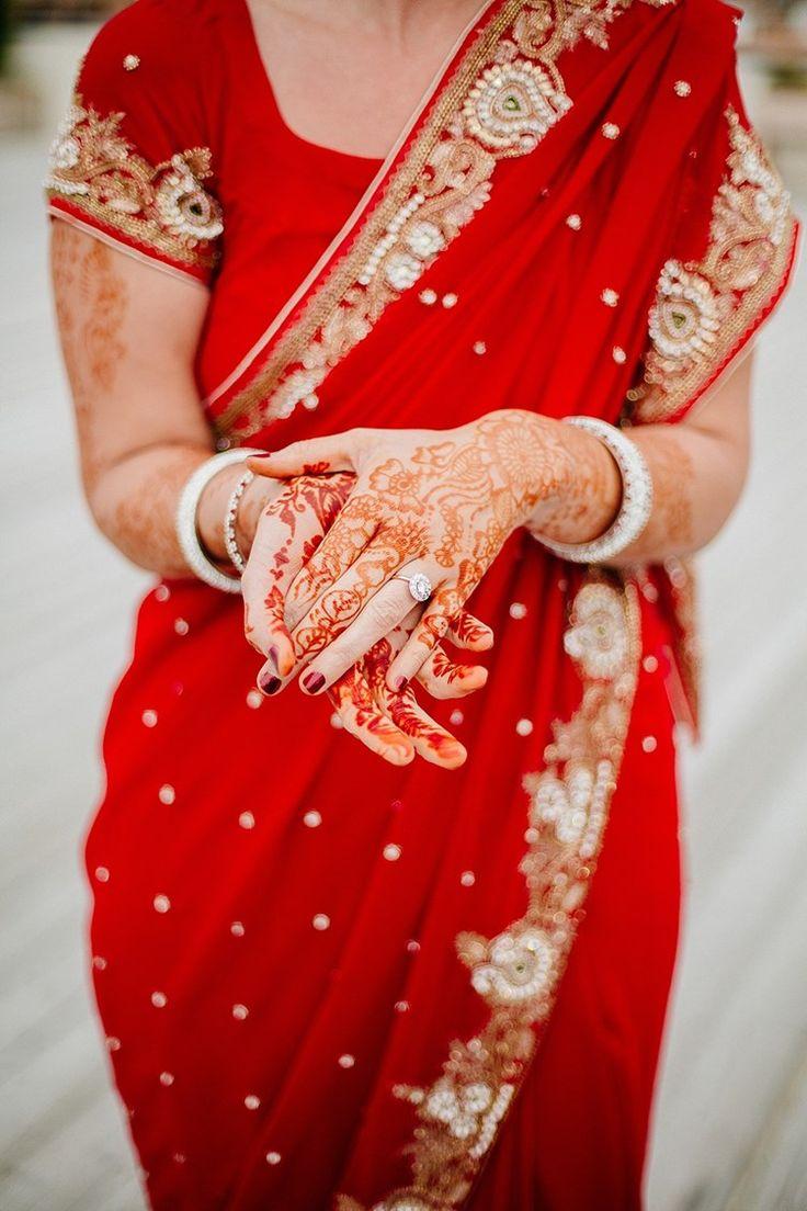 red wedding sari style