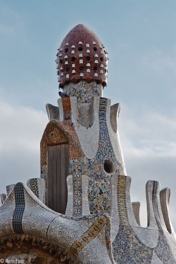 Gate house .Park Guell. Antoni Gaudi. Barcelona, Spain. 1900-14