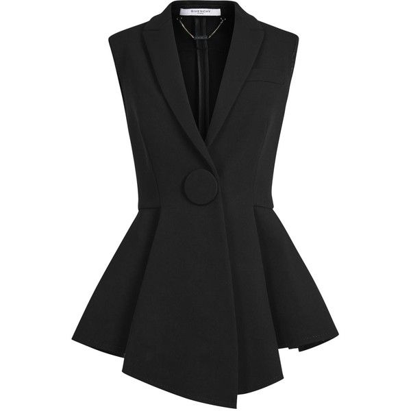 Womens Smart Jackets Givenchy Black Sleeveless Wool Crepe Jacket found on Polyvore featuring outerwear, jackets, tops, oversized jacket, givenchy, sleeveless jacket, black sleeveless jacket and black wool jacket