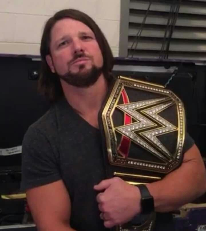 Whoever thought we'd see the day that AJ styles is the wwe champ? Soooo cute. ❤