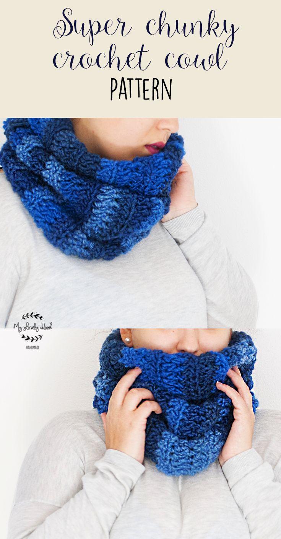 Super chunky crochet cowl pattern by MyLovelyHook   English and Italian pattern