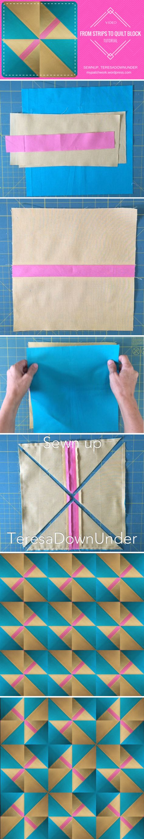 From 3 fabric strips to quilt block – video tutorial