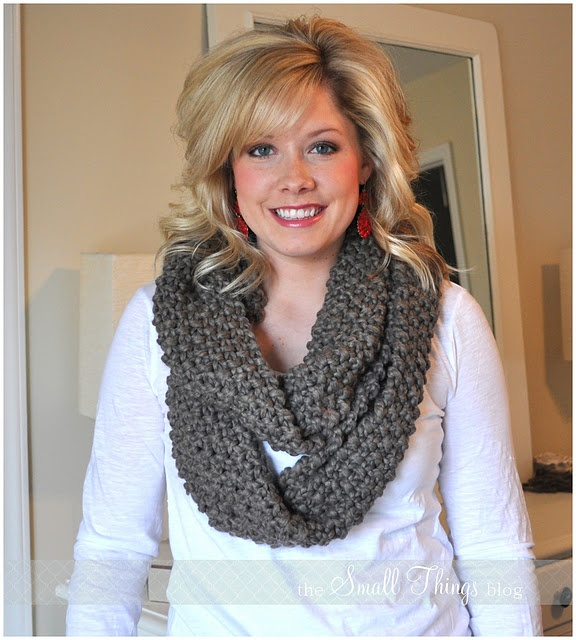 DIY infinity scarf with fringed scarf; just tie together the ends with fringe and trim the fringe outside the knots. hellooooo, amazing.