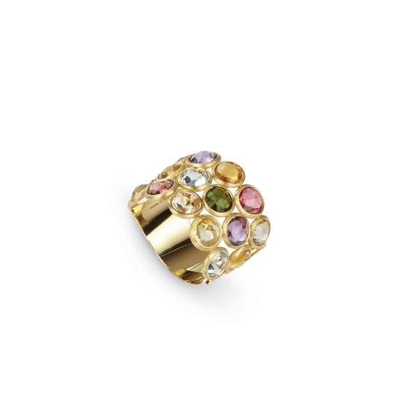 18K yellow gold three row ring with rose cut cushion multi-colored semi-precious gemstones. Inspired by a tropical Indian sunset and the stone-cutting heritage of Jaipur, this Jaipur Color Multicolor Gemstone Ring is hand engraved by Italian artisans.