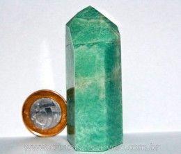 Ponta Amazonita Verde Pedra Extra Natural Lapidado em Gerador Sextavado Cod 110.3