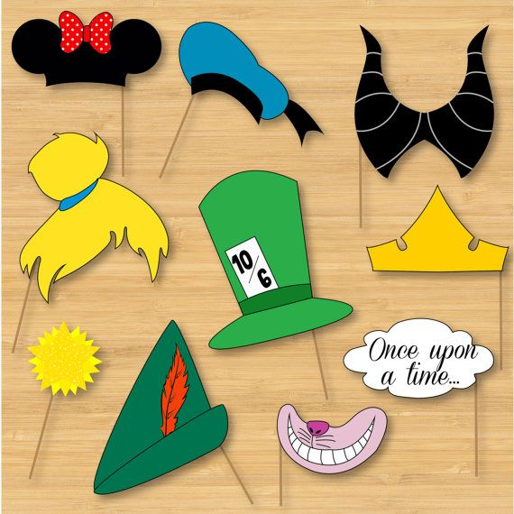 Disney Photo Booth Props - Mickey Mouse, Disney Princess, Pooh, Peter Pan - DIY, Printable, Digital, Photobooth