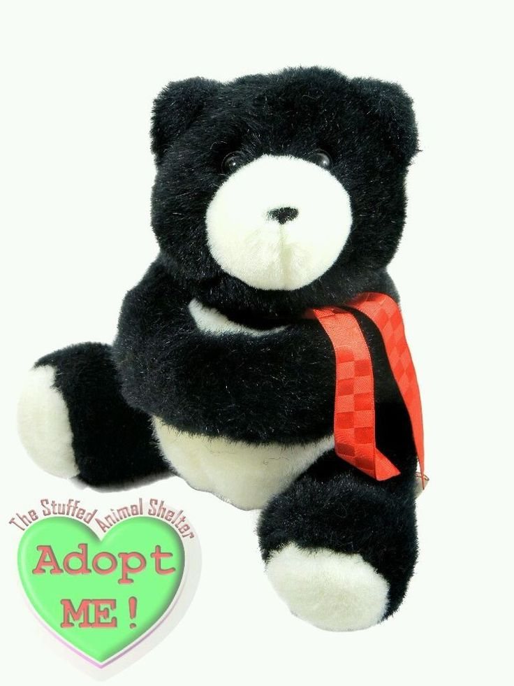 Hallmark Heartline Stuffed Plush Vintage Black Teddy Bear Card Gift Holder 1990 #Hallmark