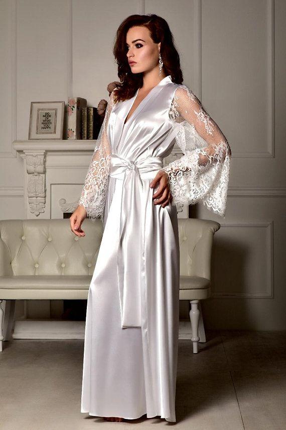 best quality big discount of 2019 prevalent Long bridal robe Long white robe Wedding kimono Long lace ...