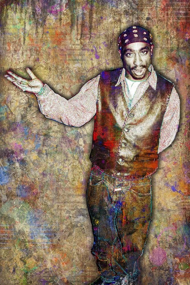 Tupac Poster, Tupac Portrait Gift, Tupac Memorial Colorful Layered Tri                      – McQDesign
