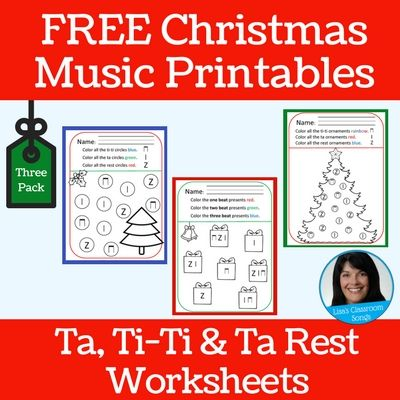 Break out the BINGO dabbers, crayons, markers or coloring pencils for these fun music worksheets that reinforce ta, ti-ti and rest!