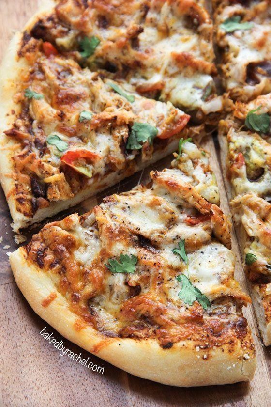 Homemade chicken enchilada pizza! Recipe from @Rachel {Baked by Rachel}