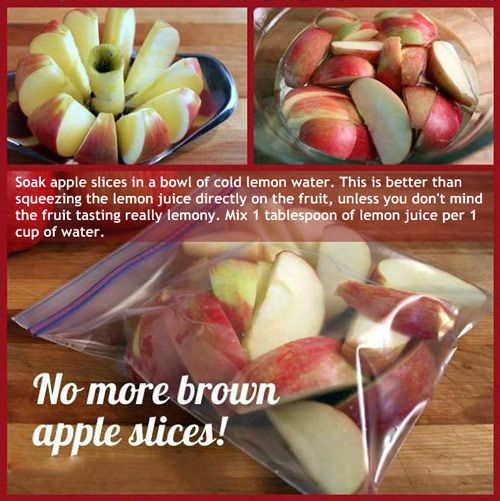 Keep apple slices from turning brown - 1Tbsp lemon juice to 1 cup cold water. Soak for a few minutes, stirring about every minute to ensure all exposed sides of the apple are soaked