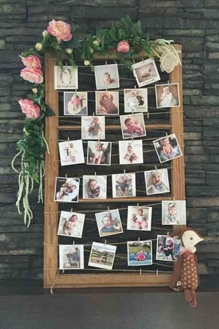 60th birthday party polaroid guest photos display