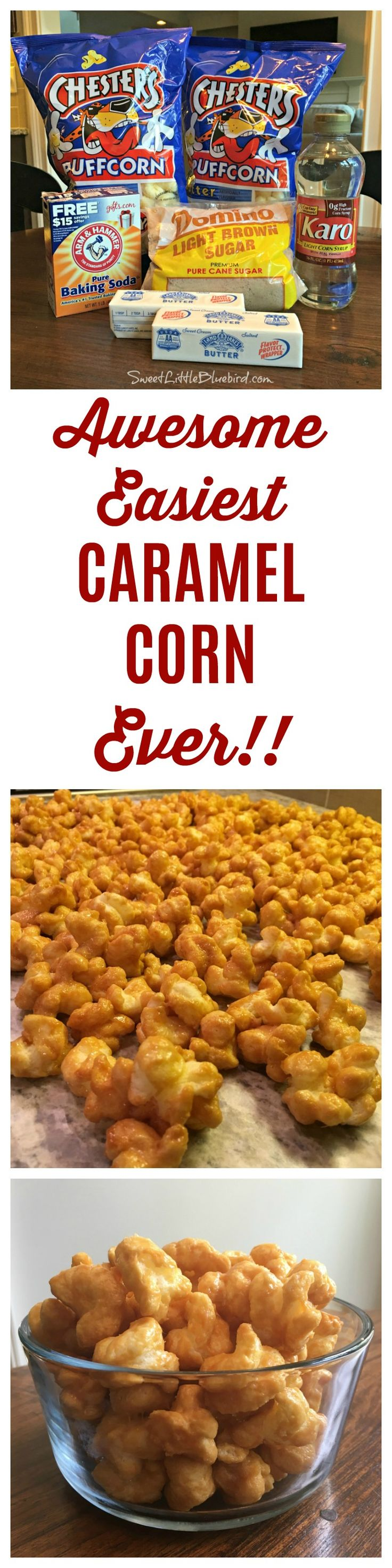 "AWESOME & EASIEST CARAMEL CORN EVER!! ""When I say this is the easiest, I'm not kidding! Less than 10 minutes to make, 45 minutes to bake, no candy thermometer and you can be eating this in less than an hour. When I say it's awesome, I'm not kidding there either...I have never met anyone who didn't love this caramel corn. It has no hulls and no seeds, so little kids and older people love it too!""  Silo Hill Farm"