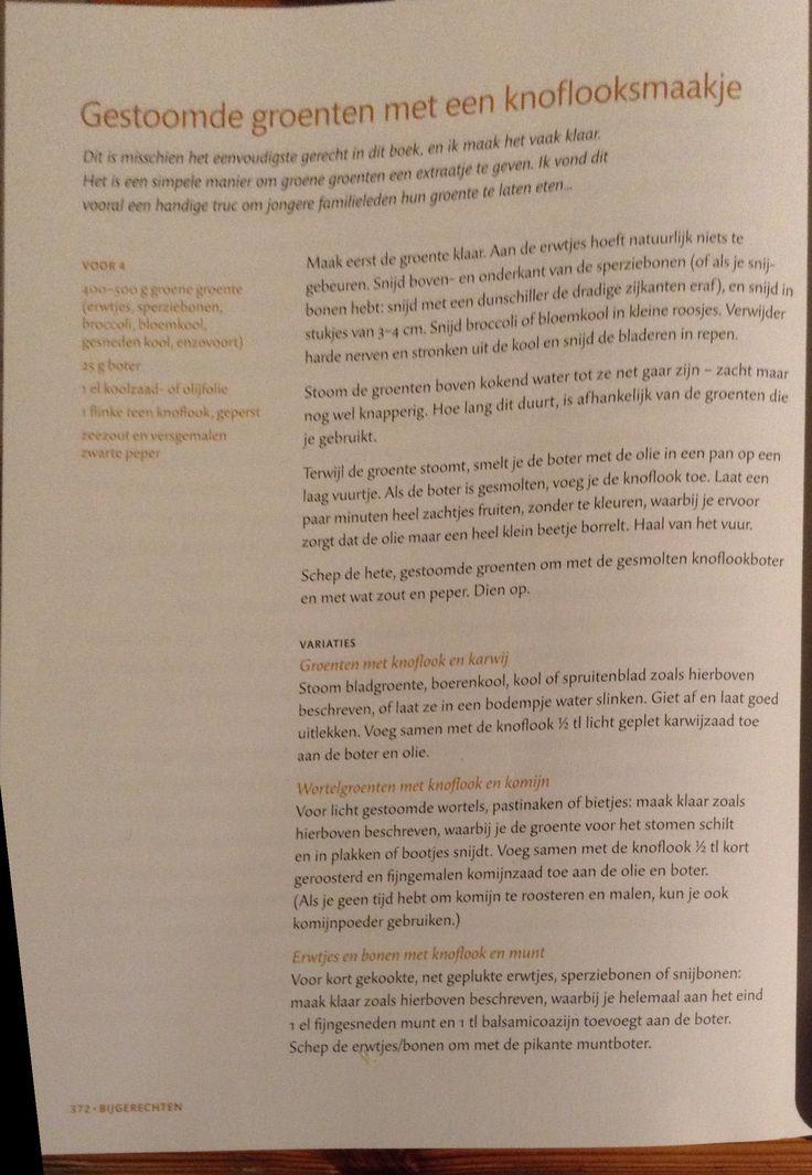 Gestoomde groenten met een knoflooksmaakje gemaakt met biologische groene kool uit Odin pakket (januari 2016). Uit: Veg! van Hugh Fearnley-Whittingstall