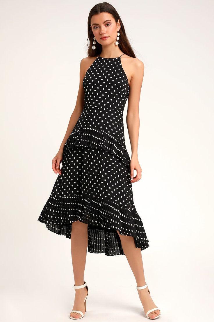 Envy black and white polka dot ruffled midi dress midi