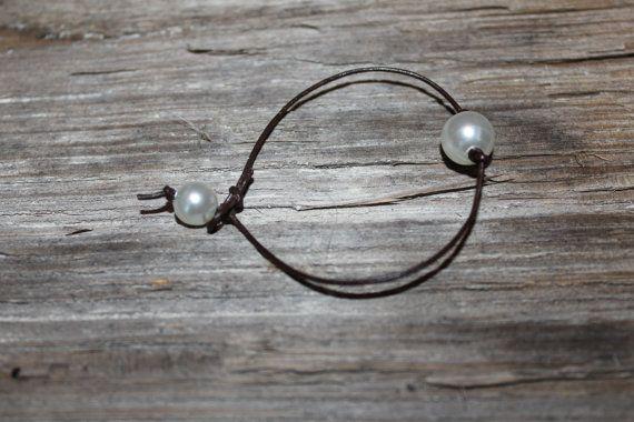 brown leather pearl bracelet