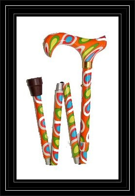 Ladies Psychedelic Pattern Folding Adjustable Walking Cane