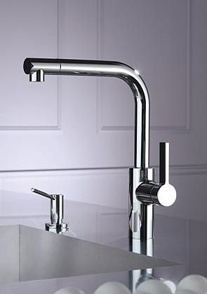 Elio is another clean contemporary kitchen faucet that Dornbracht has for us in store... With its simple harmonious shapes, solid construction and smooth single lever action (we've tried), Elio carries unmistakable Dornbracht signature to bring comfortable feeling to your kitchen space. Sized for any possible around-the-sink application and extendable with a spray, this kitchen faucet will fulfil your 'up-to-date' requirements. You can buy Elio as a single-lever mixer or a two-hole mixer or…