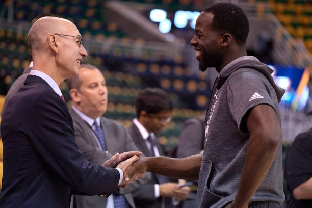 NBA Playoffs Golden State Warriors Draymond Green talking with NBA commissioner Adam Silver before game vs Utah Jazz at Vivint Smart Home Arena Game...