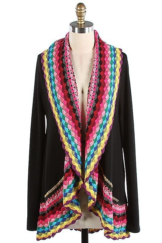The Texas Cowgirl - Multi Spring Color Black Crochet Cardigan Sweater, (http://www.thetexascowgirl.com/multi-spring-color-black-crochet-cardigan-sweater/)