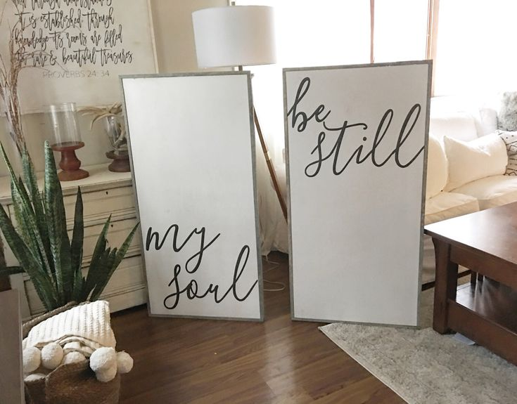 A personal favorite from my Etsy shop https://www.etsy.com/listing/497204606/be-still-my-souls-18x34-framed-wood-sign