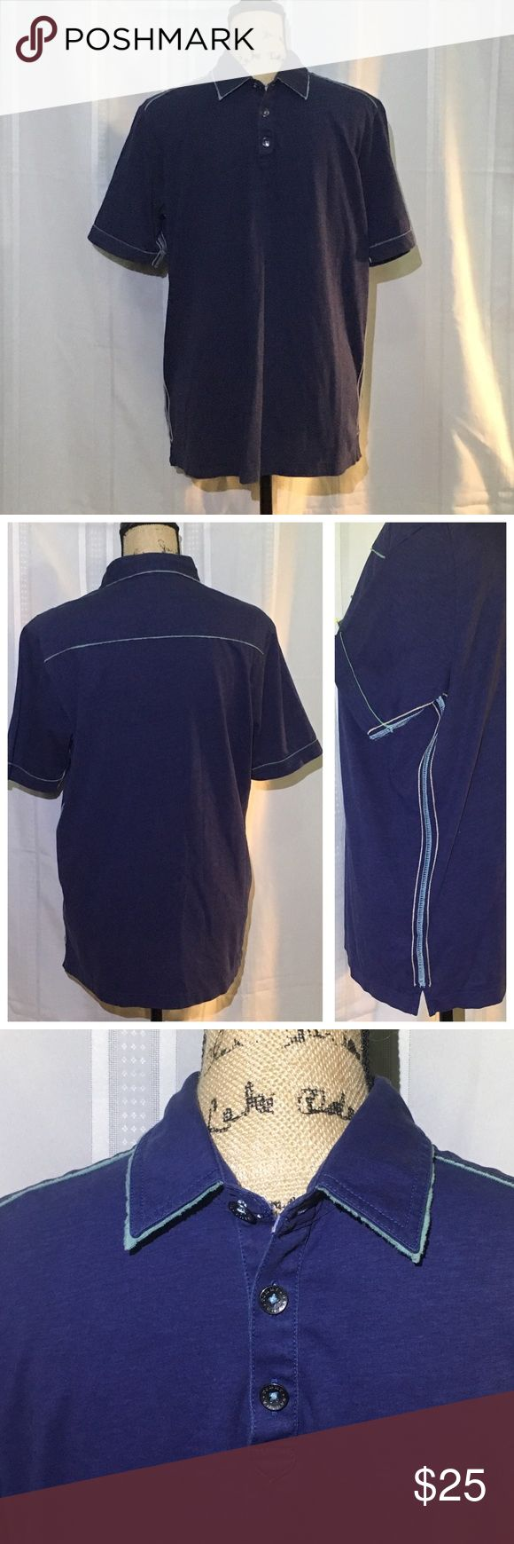 Tommy Bahama Jeans Dk Blue Polo Shirt 100% Pima Cotton Polo shirt has contrasting light blue trim on the collar, sleeve and hem with selvedge edges. Short is in excellent condition. Tommy Bahama Shirts Polos