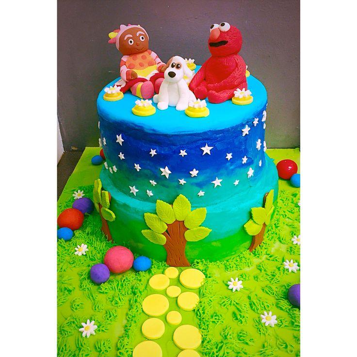 Night garden cake with favourite toys