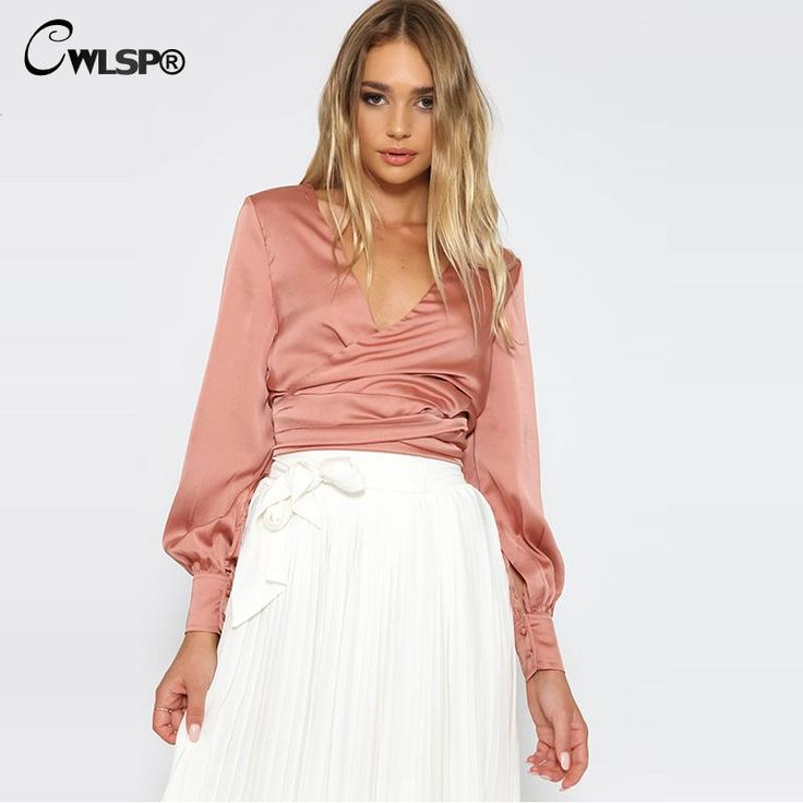 High Quality Womens Satin Tops Blouses Women's Sexy V-Neck Long Sleeve Shirts Fashion Bandage Bow Shirts Silk Crop Top QZ1394