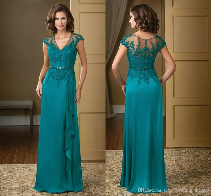 Turquoise Wedding Dress 2017 V Neck Lace Appliques Chiffon Mother Of The Bride Dress Custom Mother Beads Godmother Dress Hy1119 Mother Of The Bride Beach Dresses Mother Of The Bride Dresses For Beach Wedding From Sexy_wedding_dresses, $89.45| Dhgate.Com